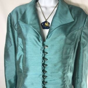 Alex Evenings Teal 2 Piece Skirt and Top Suit Sz14